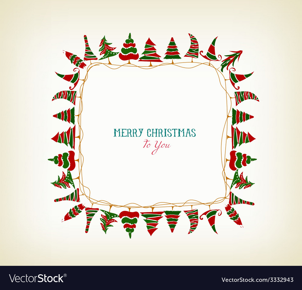 Vintage christmas frame with trees vector