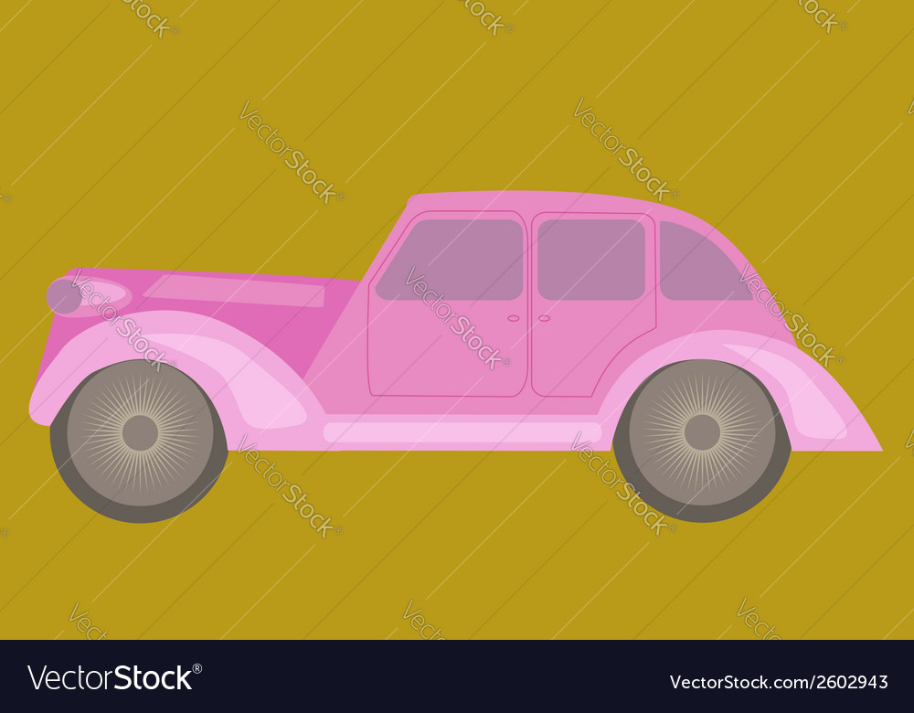 Vintage pink car vector | Price: 1 Credit (USD $1)