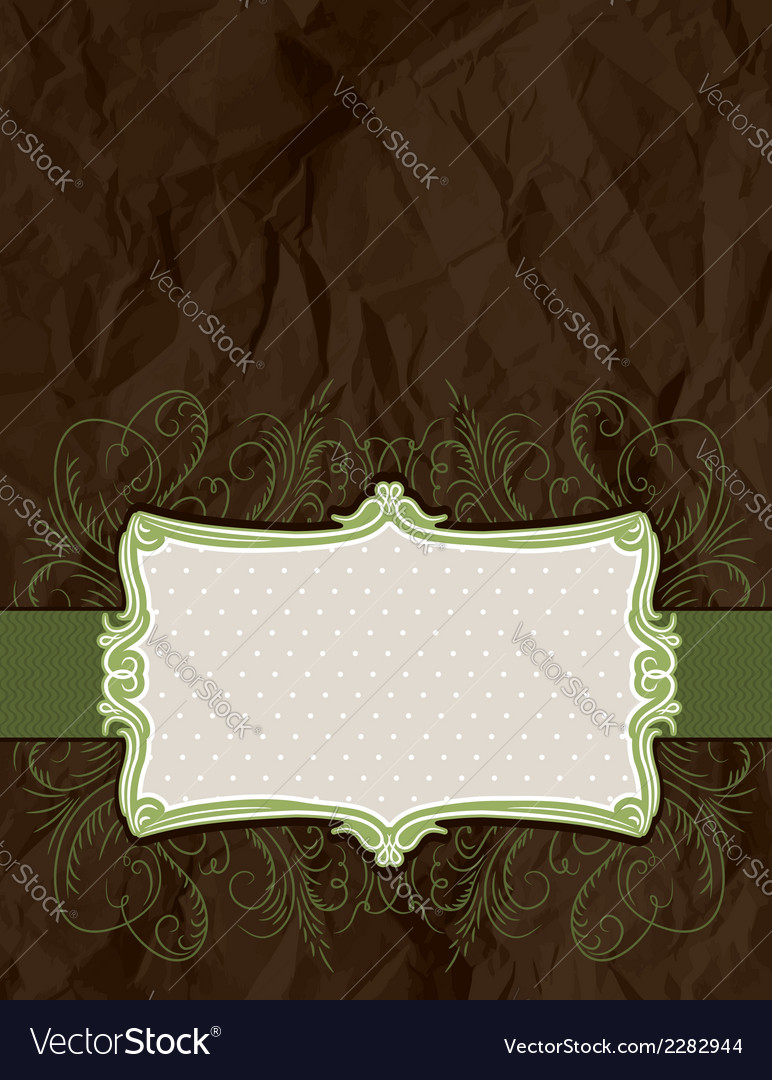 Background of crumple paper with decorative label vector | Price: 1 Credit (USD $1)