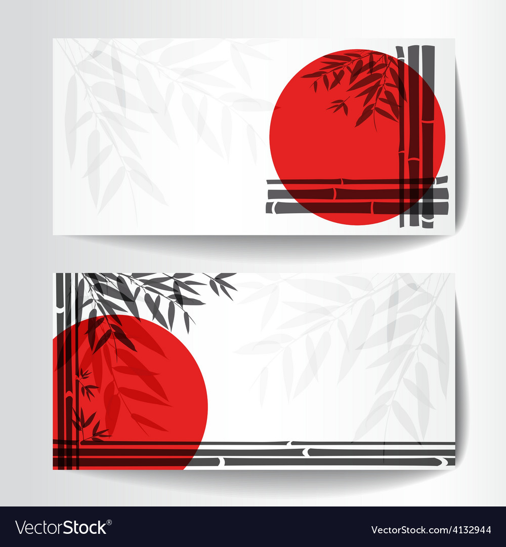 Banners with bamboo trees and leaves with red sun vector | Price: 1 Credit (USD $1)