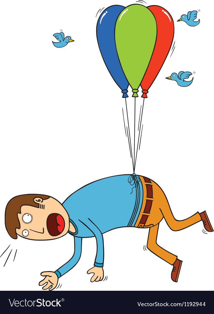 Bird attacking man with balloon vector | Price: 1 Credit (USD $1)
