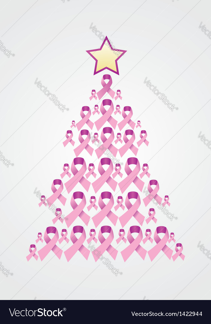 Breast cancer ribbon christmas tree vector | Price: 1 Credit (USD $1)