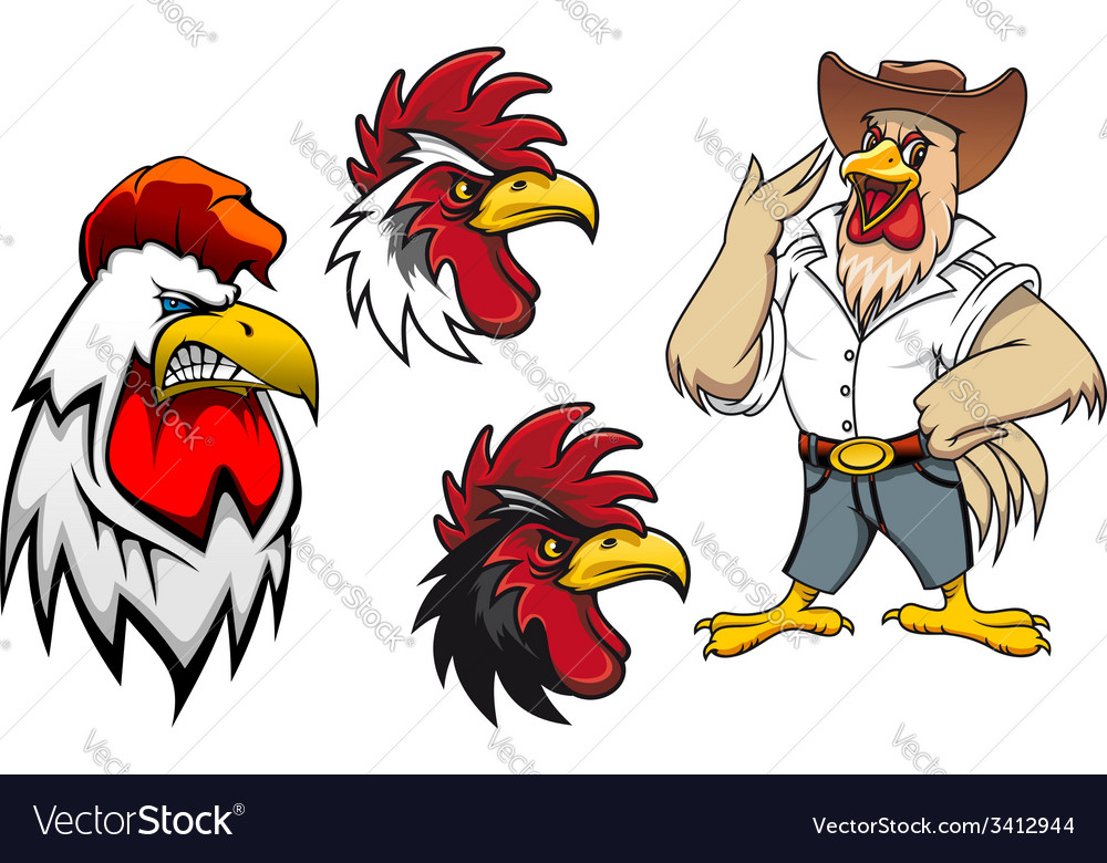 Cartoon roosters or cocks vector | Price: 1 Credit (USD $1)