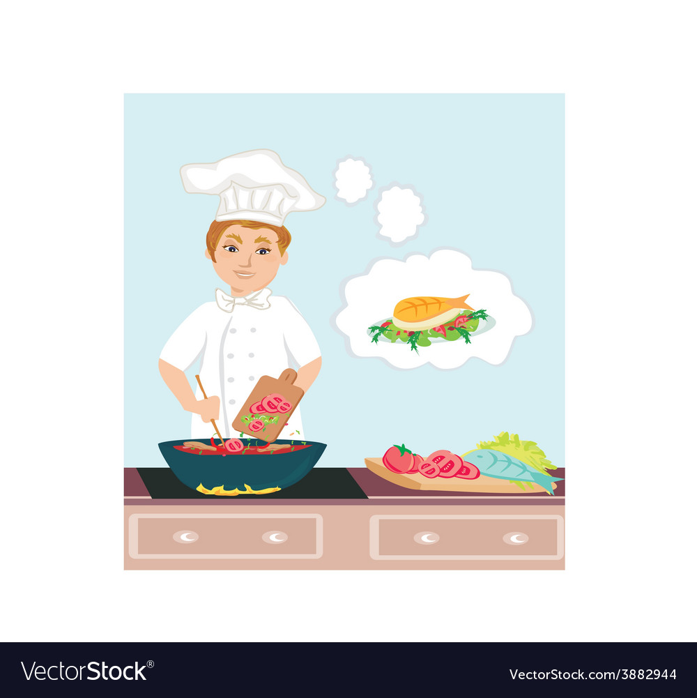Cheerful chef cooks in the kitchen vector | Price: 1 Credit (USD $1)