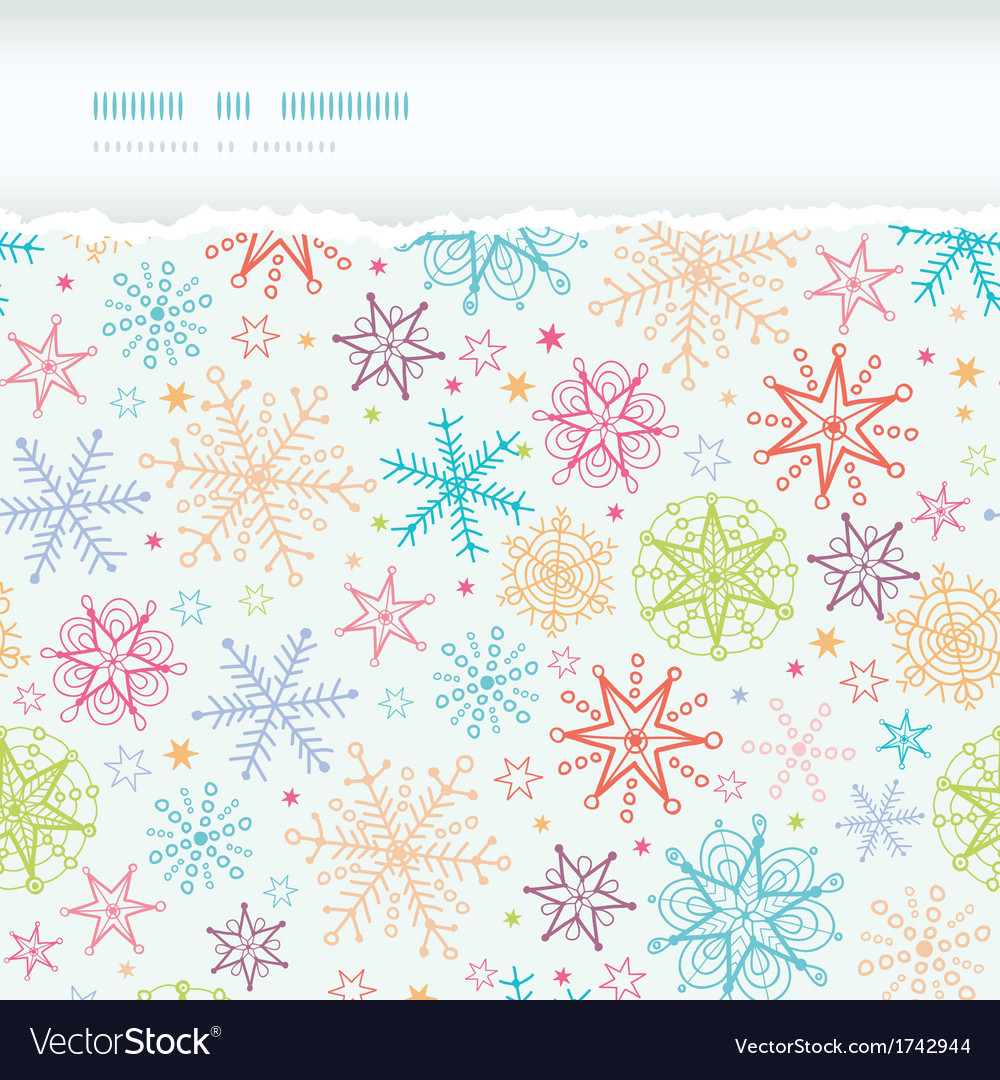 Colorful doodle snowflakes horizontal torn frame vector | Price: 1 Credit (USD $1)