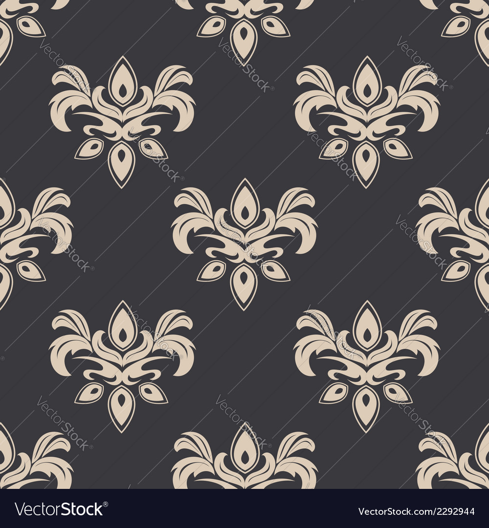 Cream colored seamless floral pattern vector | Price: 1 Credit (USD $1)