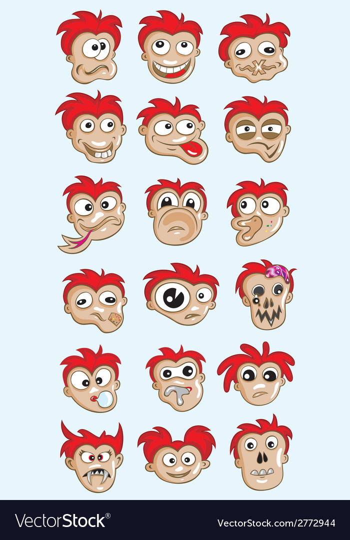 Emotion cartoon face vector | Price: 1 Credit (USD $1)