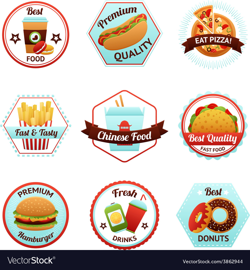 Fast food emblems vector | Price: 1 Credit (USD $1)