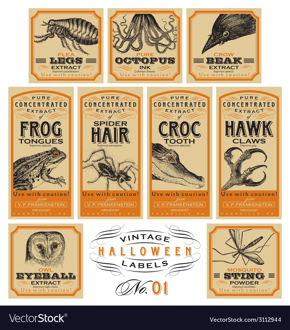 Funny vintage halloween apothecary labels - set 01 vector