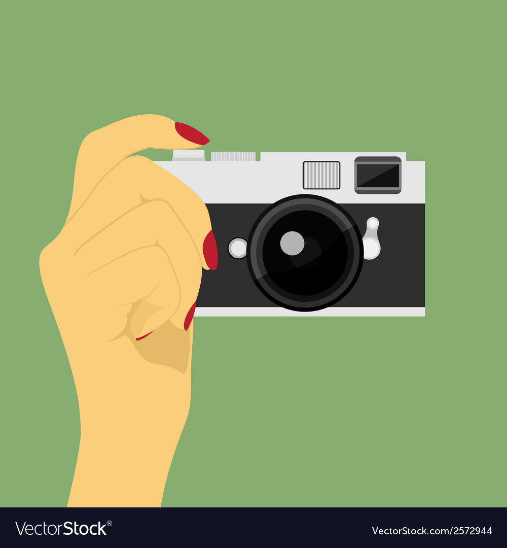 Hand with camera vector | Price: 1 Credit (USD $1)