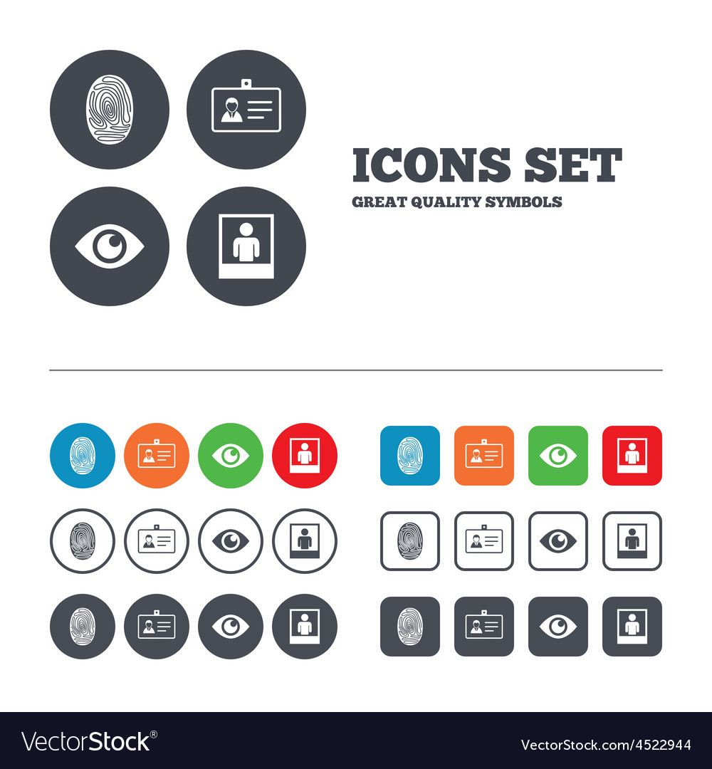 Identity id card badge icons eye symbol vector | Price: 1 Credit (USD $1)