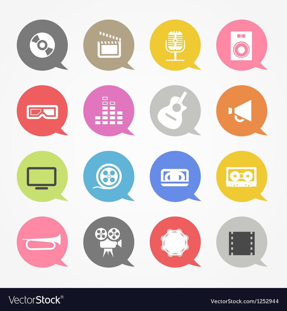 Media web icons set in color speech clouds vector | Price: 1 Credit (USD $1)