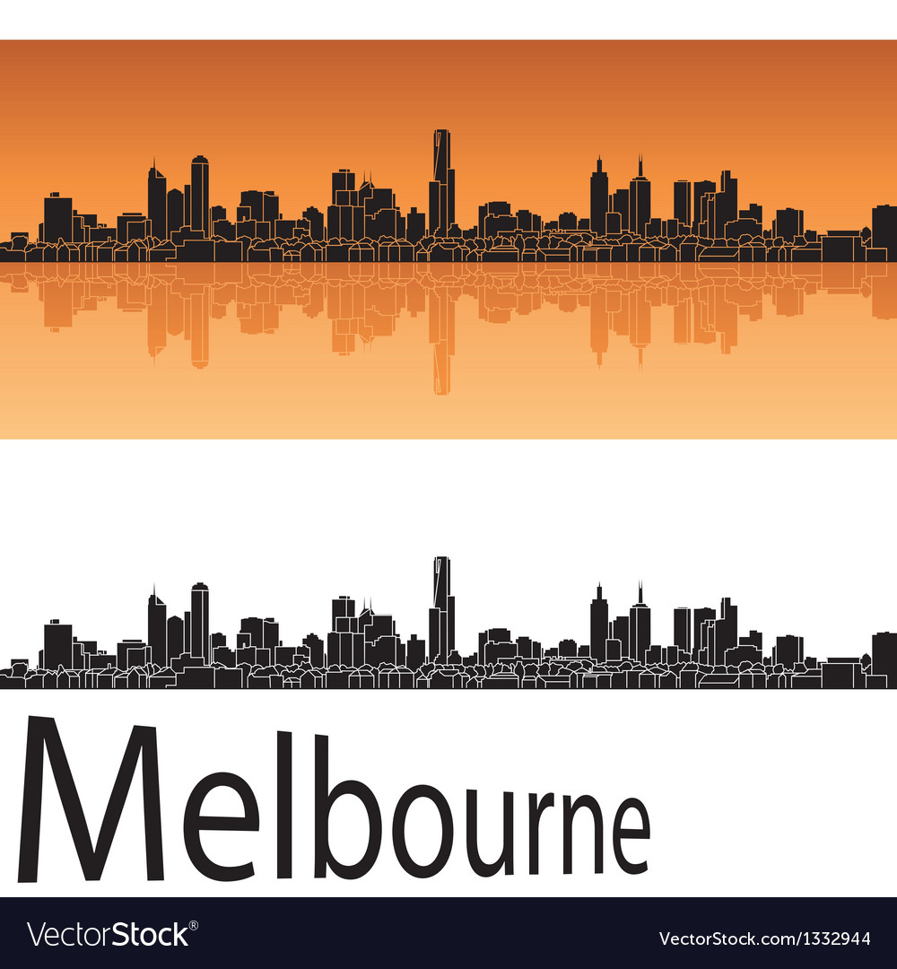 Melbourne skyline in orange background vector | Price: 1 Credit (USD $1)