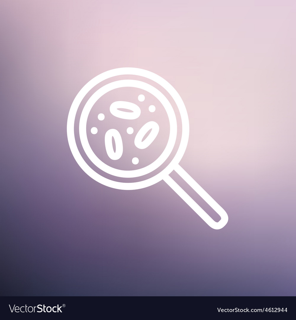 Microorganisms under magnifier thin line icon vector | Price: 1 Credit (USD $1)