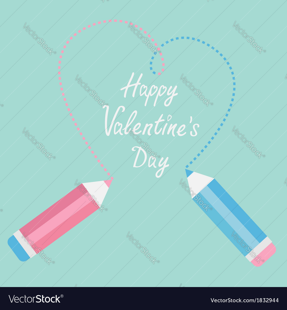 Two pencils drawing big dash heart happy valentine vector | Price: 1 Credit (USD $1)