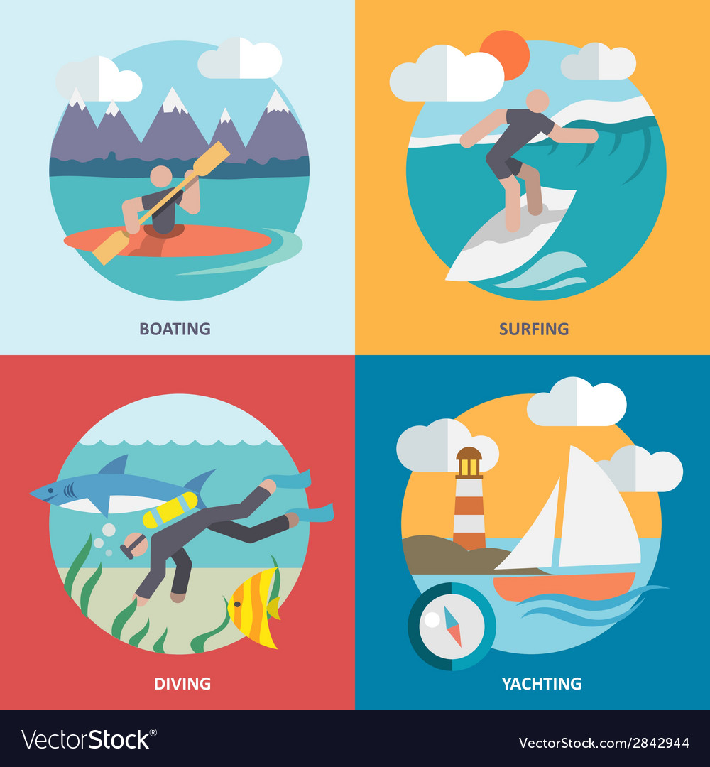 Water sports icons set flat vector | Price: 1 Credit (USD $1)
