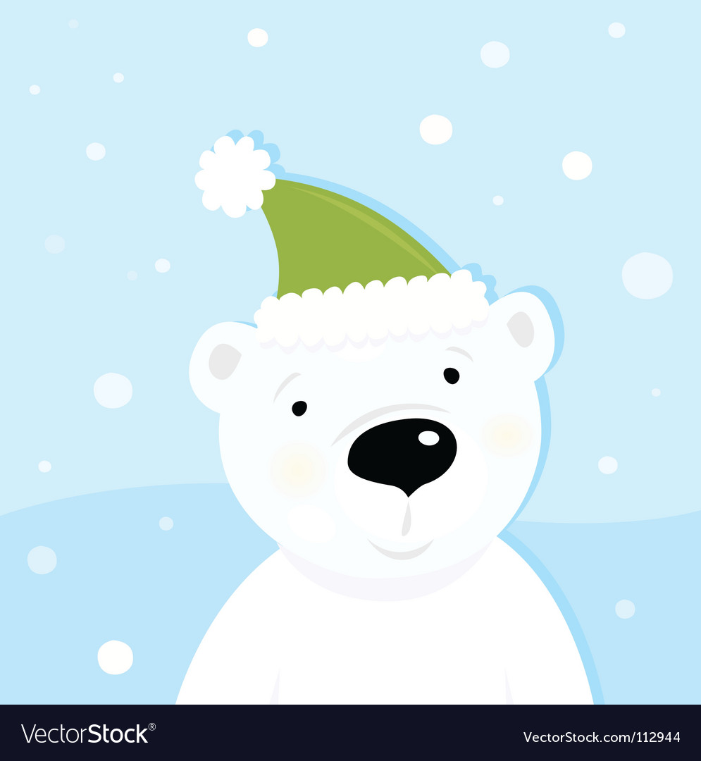 White polar bear on snow vector | Price: 1 Credit (USD $1)