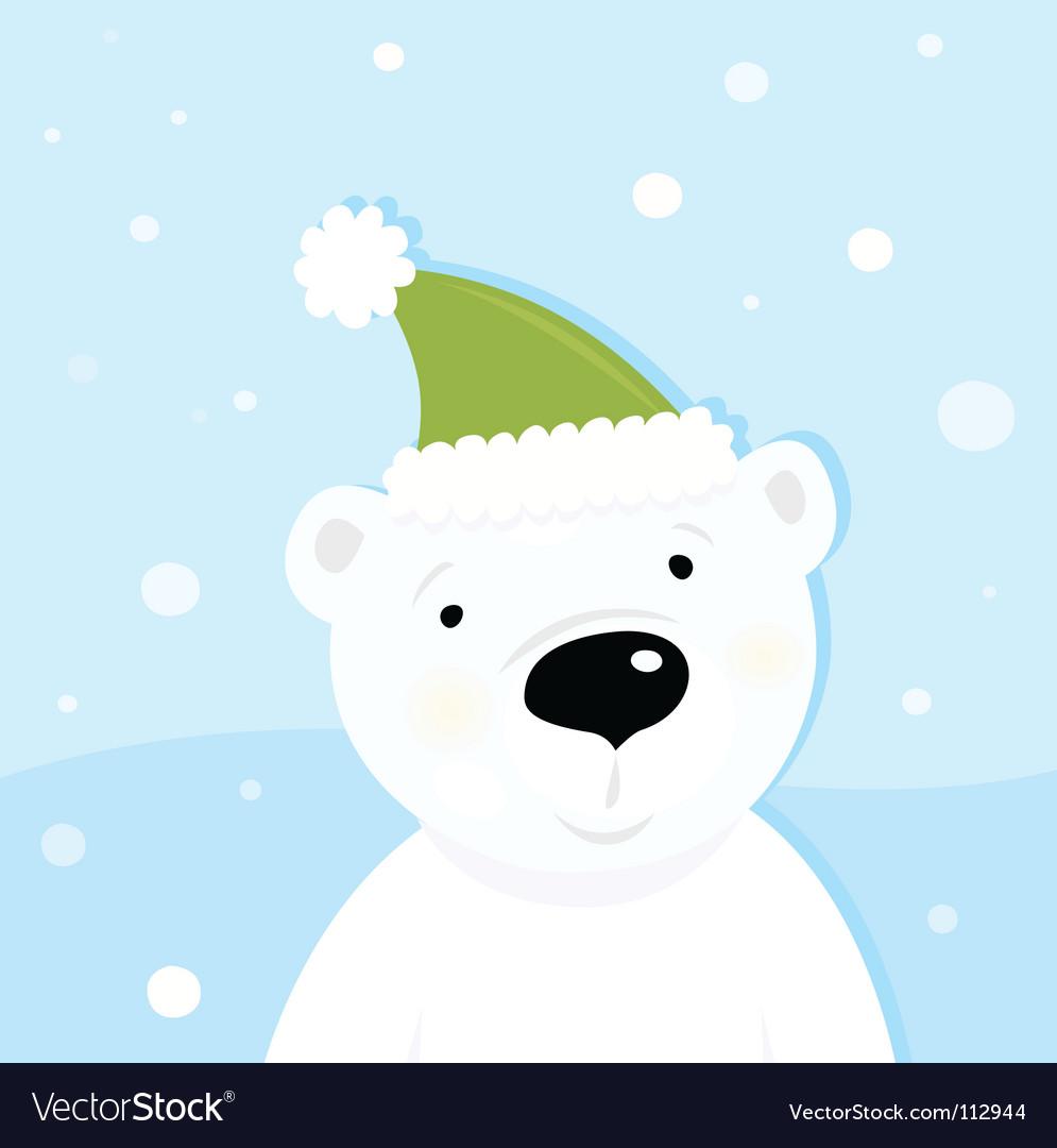 White polar bear on snow vector | Price: 1 Credit (USD $1)