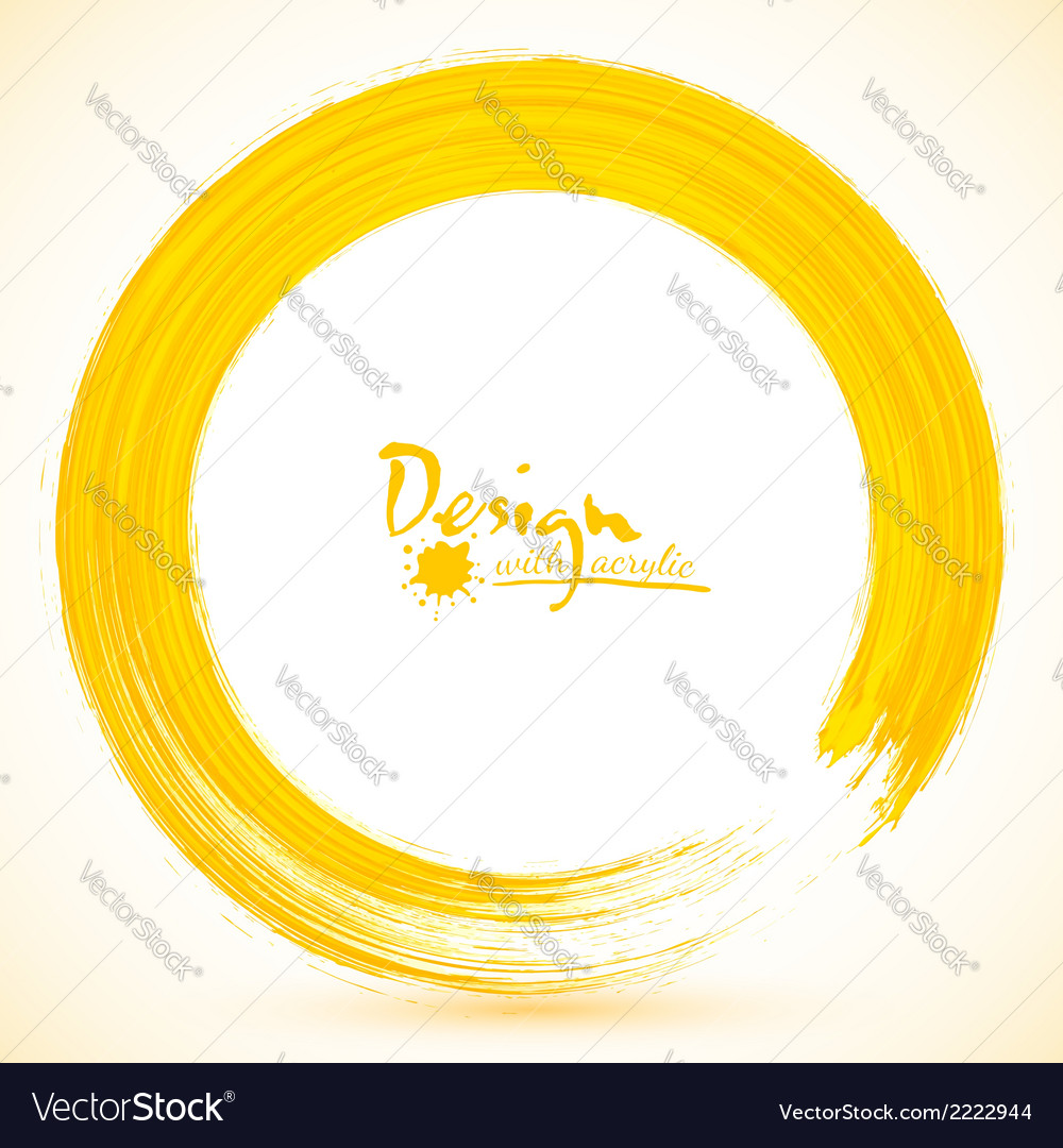 Yellow paintbrush circle frame vector | Price: 1 Credit (USD $1)