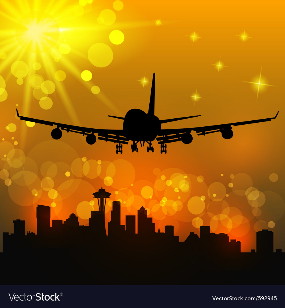 Airliner and city vector | Price: 1 Credit (USD $1)