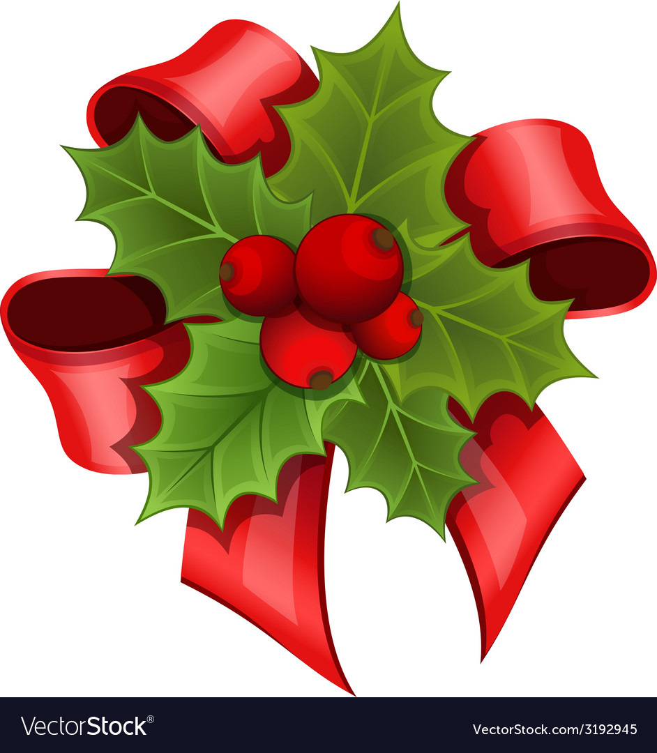 Christmas bouquet of holly vector | Price: 1 Credit (USD $1)