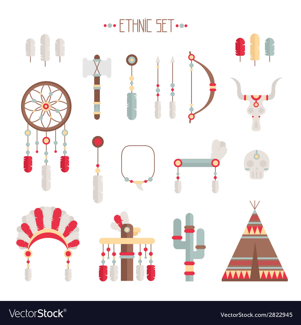 Colorful ethnic set with dream catcher feathers vector | Price: 1 Credit (USD $1)