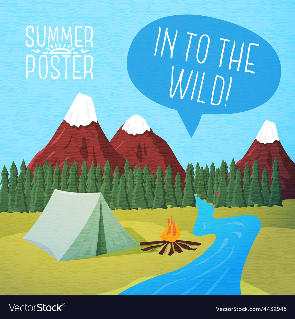 Cute summer poster - camping landscape with tent vector | Price: 3 Credit (USD $3)