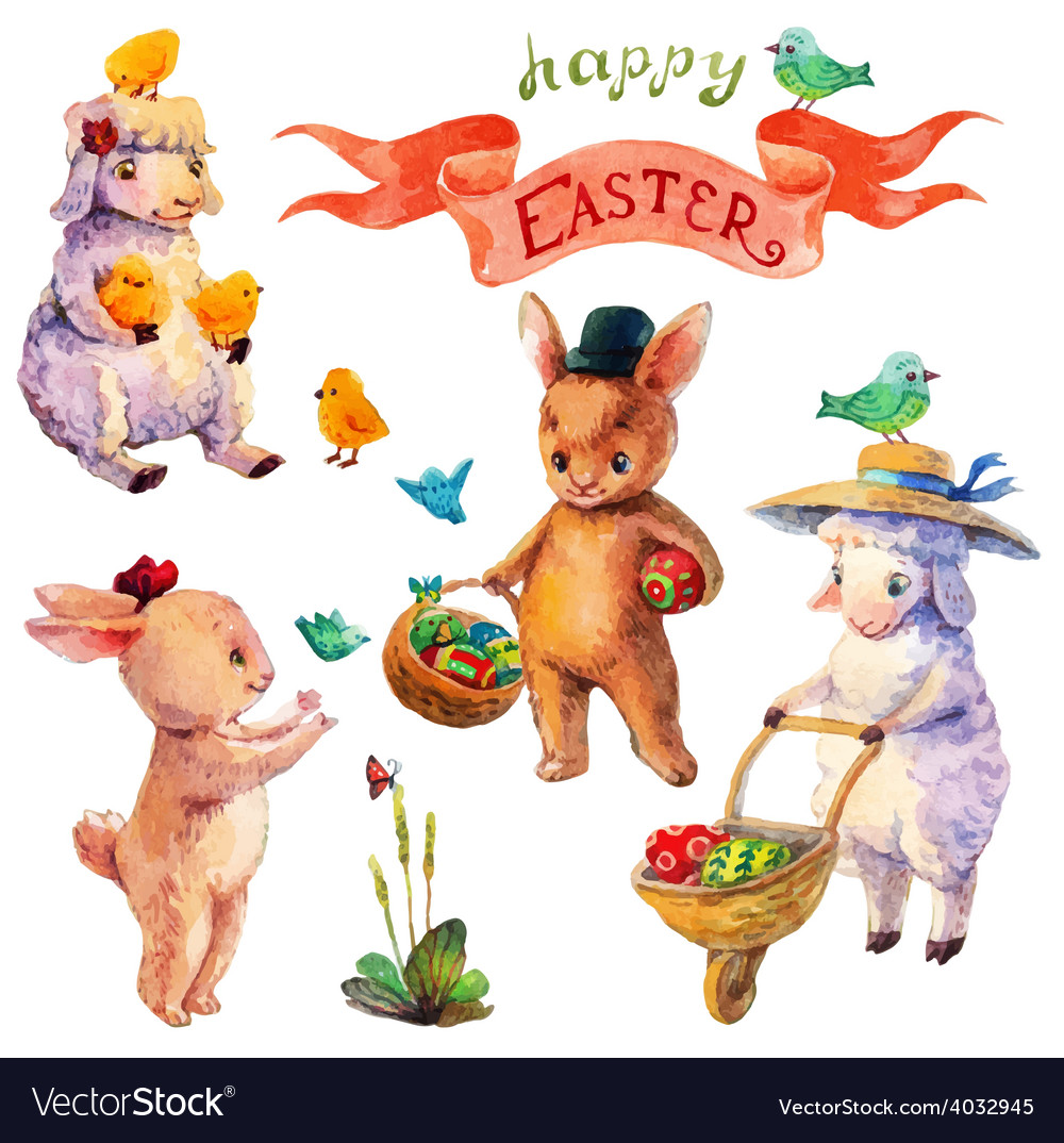 Easter watercolor collection with lamb rabbit vector | Price: 3 Credit (USD $3)
