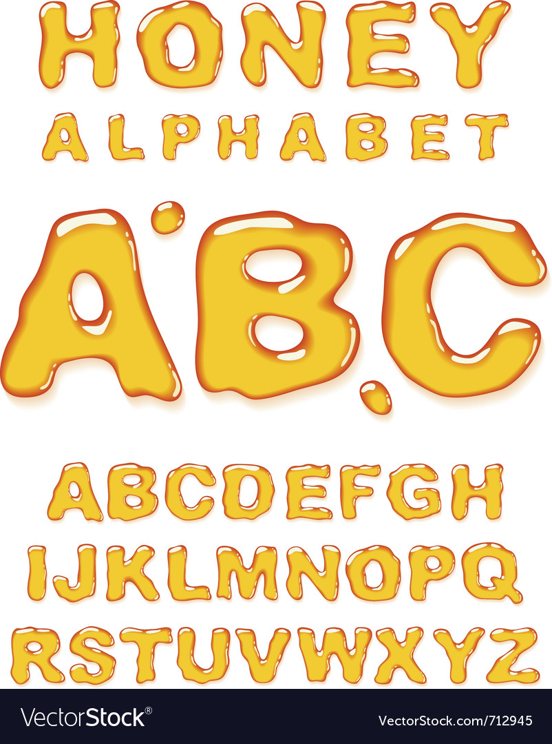 Honey alphabet letters vector | Price: 3 Credit (USD $3)