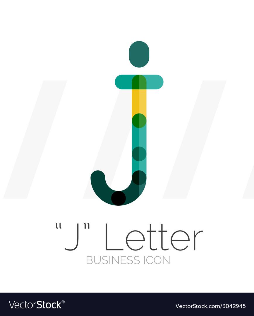 J letter logo minimal line design vector | Price: 1 Credit (USD $1)