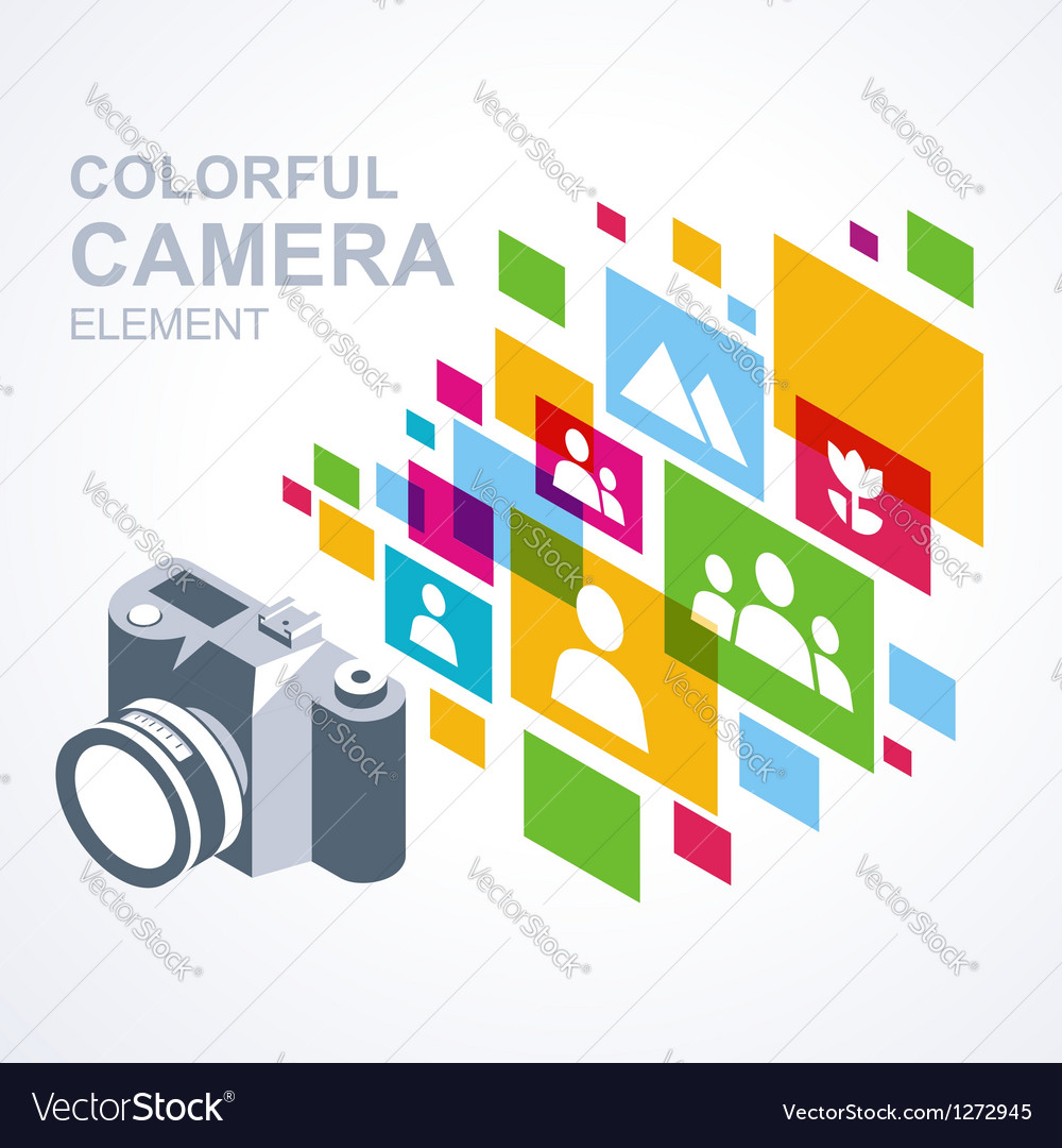Photo camera icon colorful media element vector | Price: 1 Credit (USD $1)