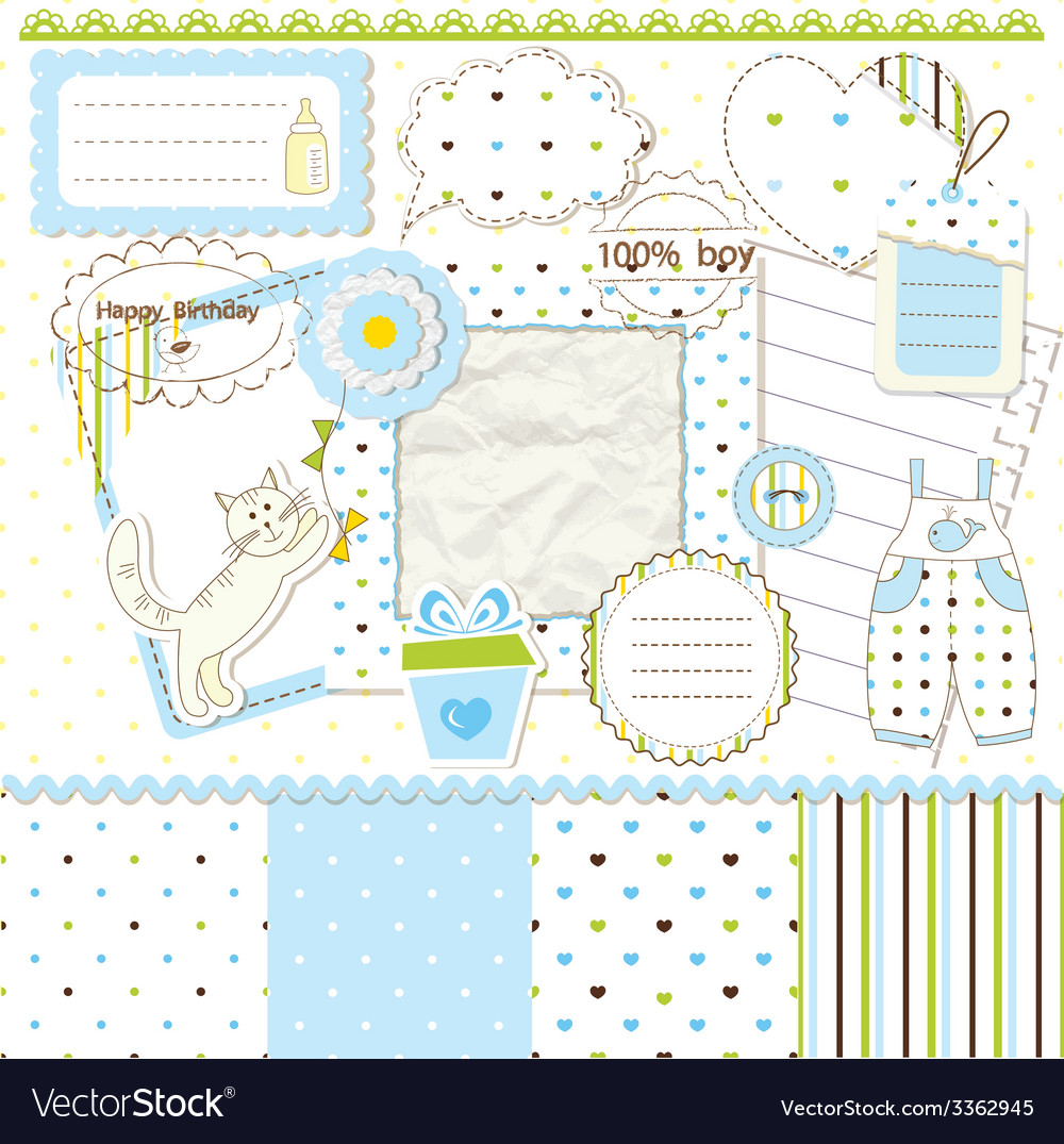 Scrapbook elements for baby boy vector | Price: 1 Credit (USD $1)