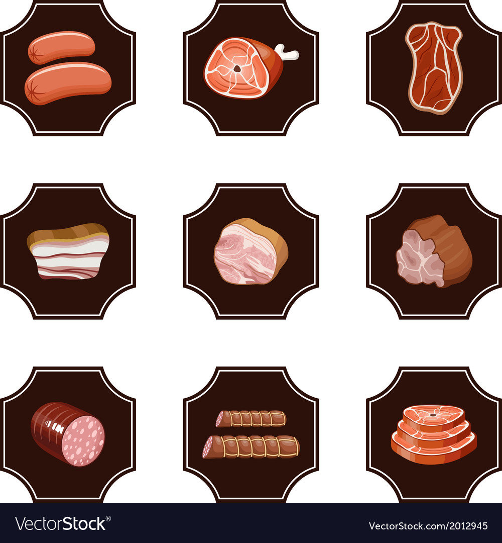 Set meat products vector | Price: 1 Credit (USD $1)