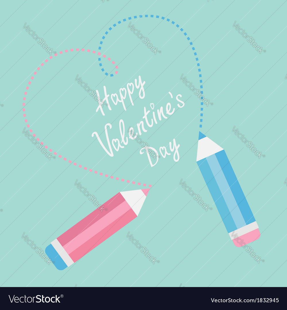 Two pencils drawing dash heart happy valentines vector | Price: 1 Credit (USD $1)