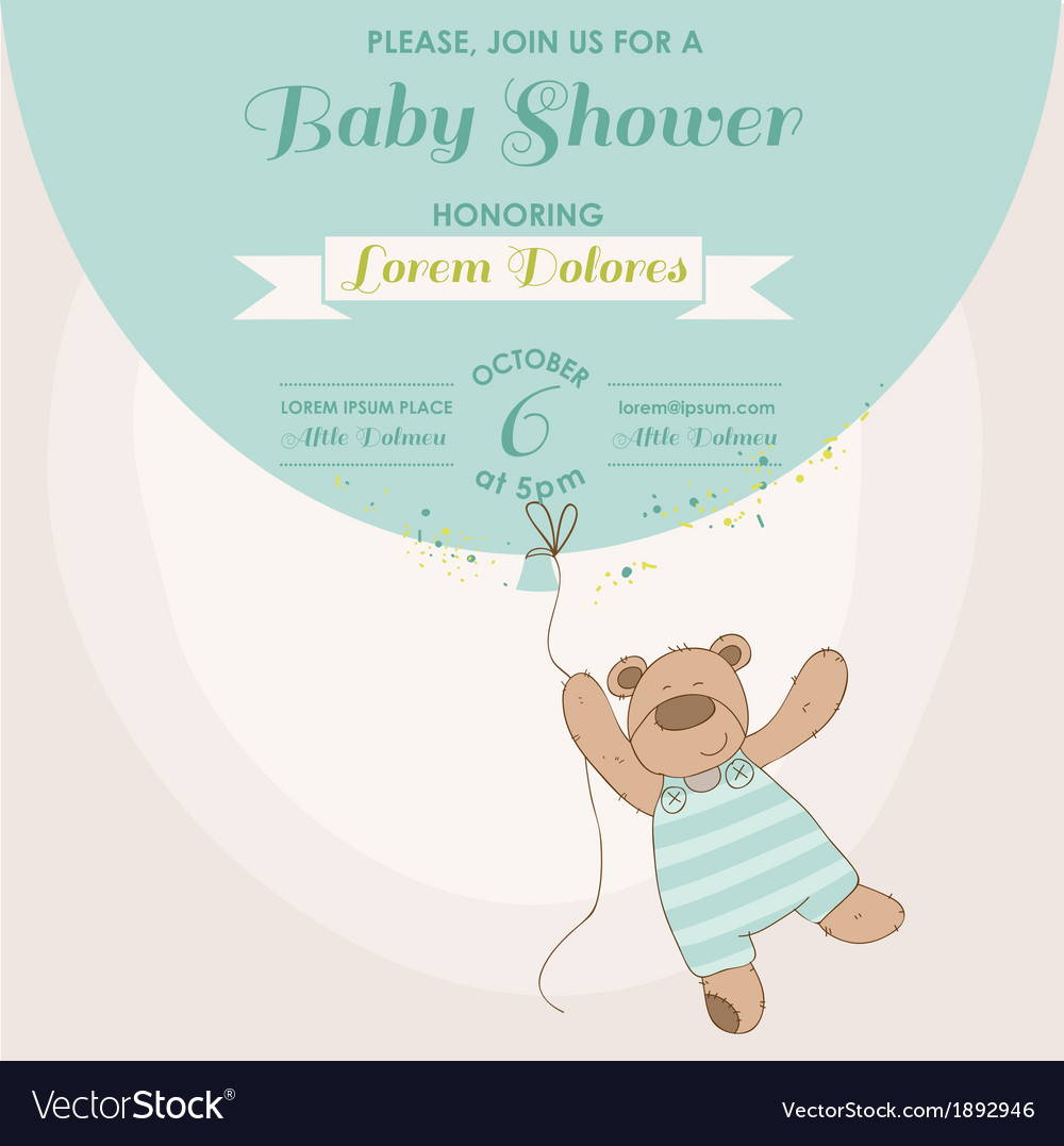 Baby shower card - baby bunny with balloon vector | Price: 1 Credit (USD $1)