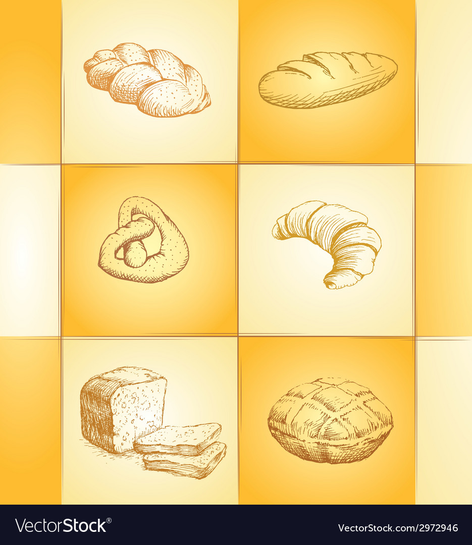 Bakery collection labels pack for bread baguette vector | Price: 1 Credit (USD $1)