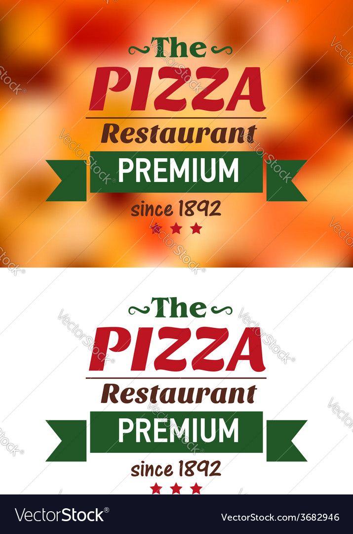 Emblem for pizza restaurant in red and green vector | Price: 1 Credit (USD $1)