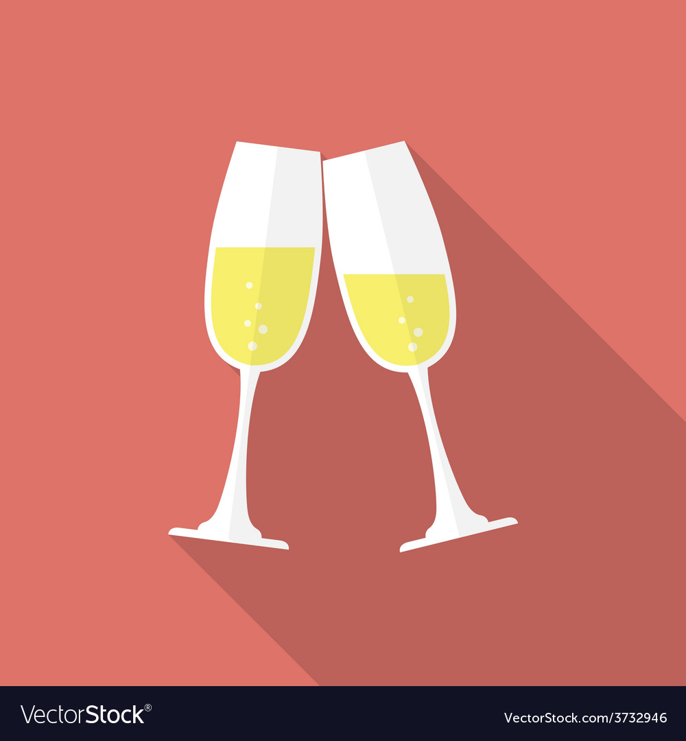 Glasses of champagne flat style icon vector | Price: 1 Credit (USD $1)