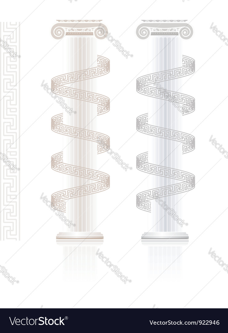 Ionic column with greek key pattern vector | Price: 1 Credit (USD $1)