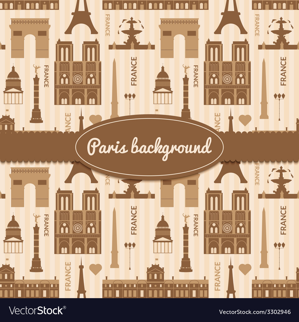Landmarks of france colorful seamless pattern vector   Price: 1 Credit (USD $1)