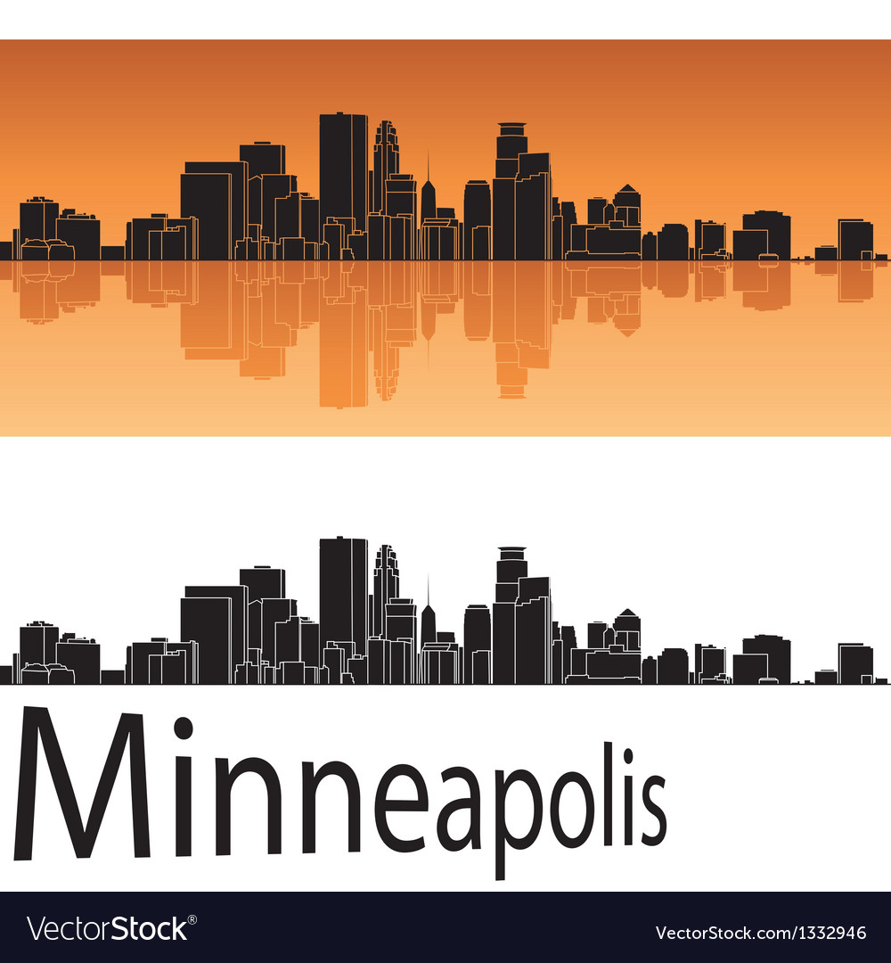 Minneapolis skyline in orange background vector | Price: 1 Credit (USD $1)