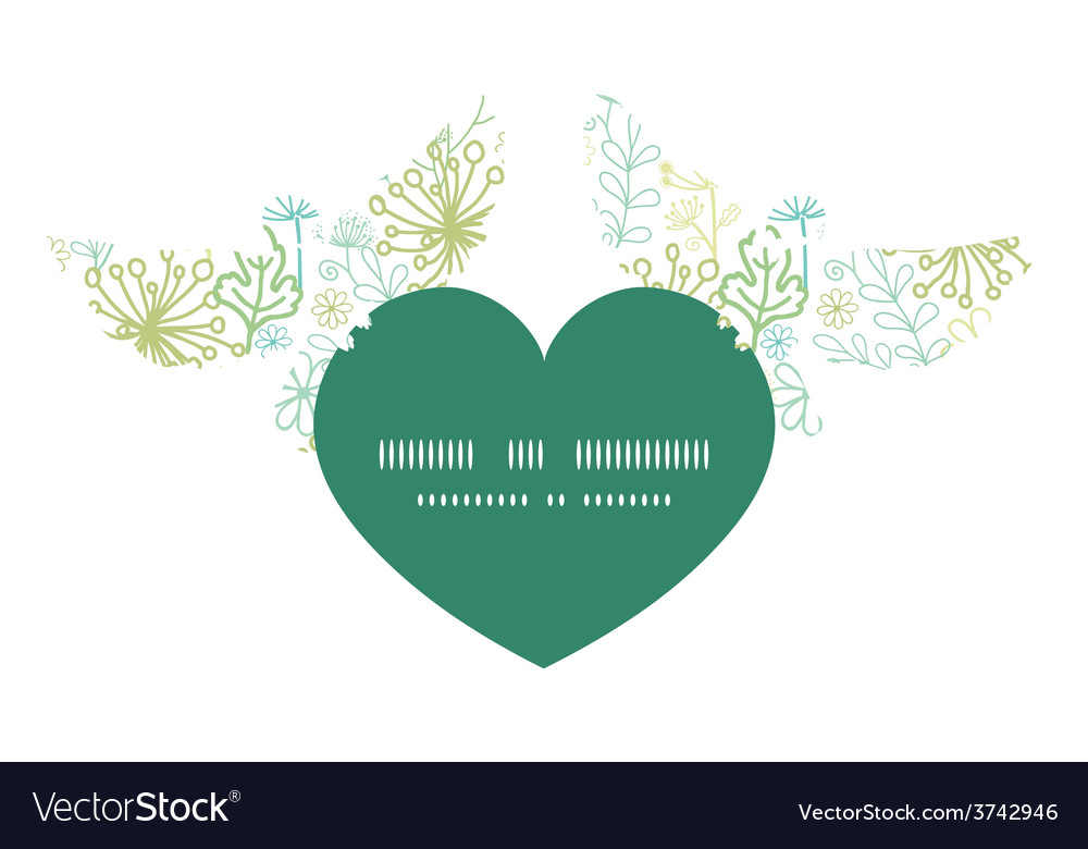 Mysterious green garden birds holding heart vector | Price: 1 Credit (USD $1)