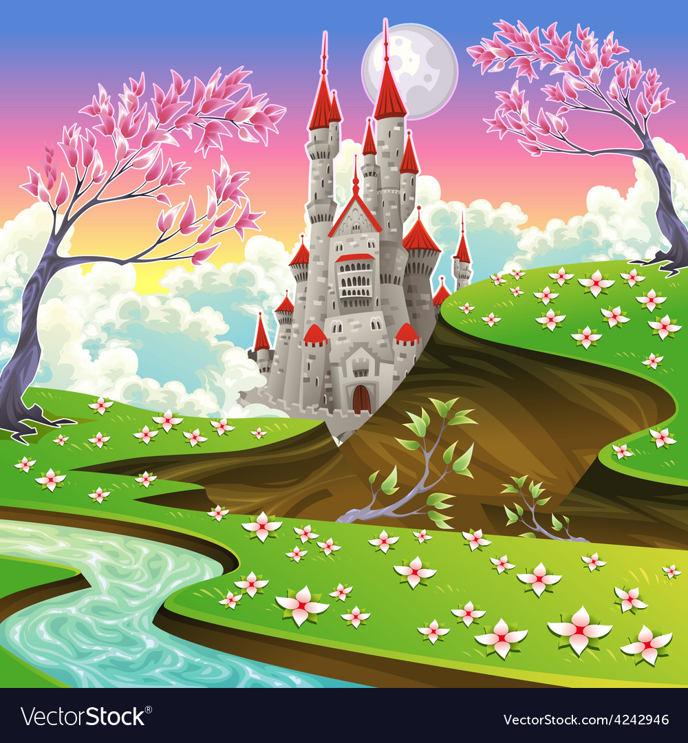 Panorama with castle vector | Price: 3 Credit (USD $3)