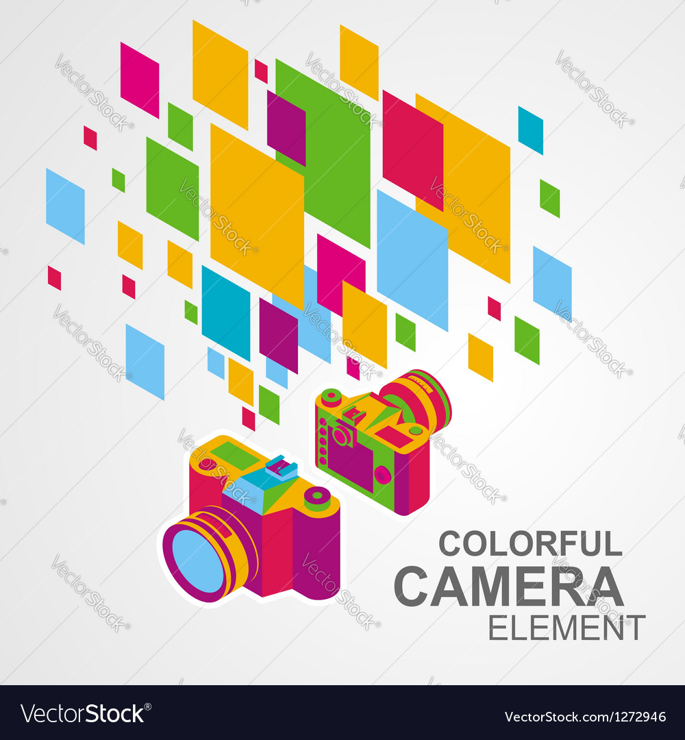 Photo camera colorful element background vector | Price: 1 Credit (USD $1)