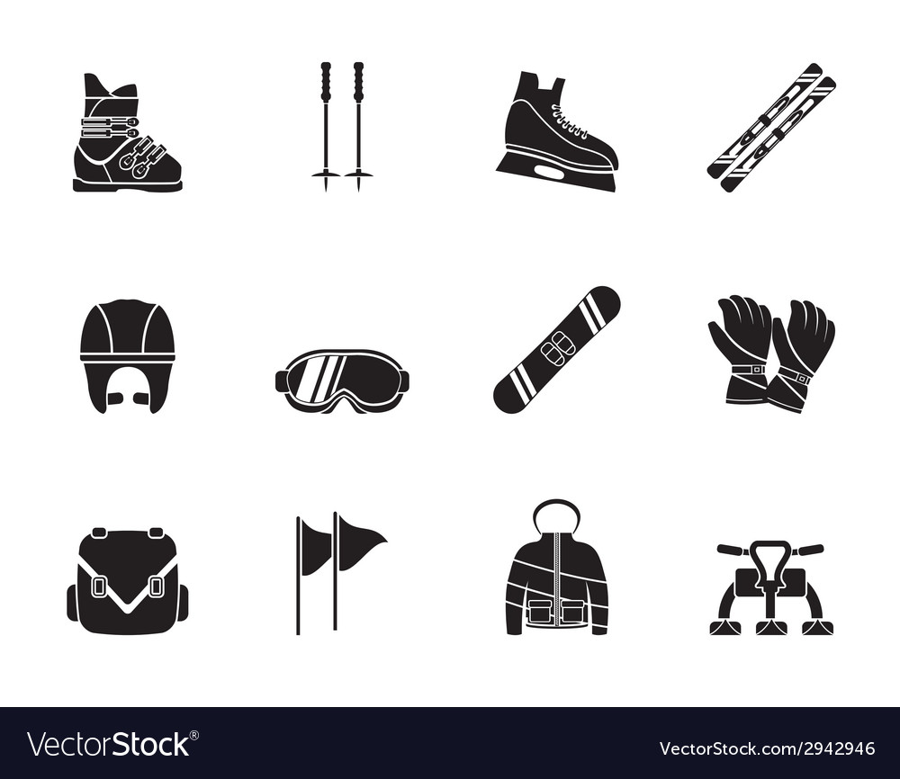 Silhouette ski and snowboard equipment icons vector | Price: 1 Credit (USD $1)