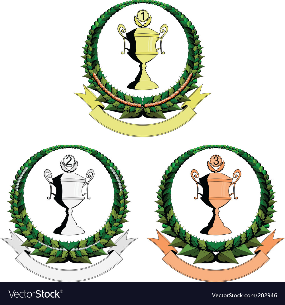 Three trophy cup emblem vector | Price: 1 Credit (USD $1)
