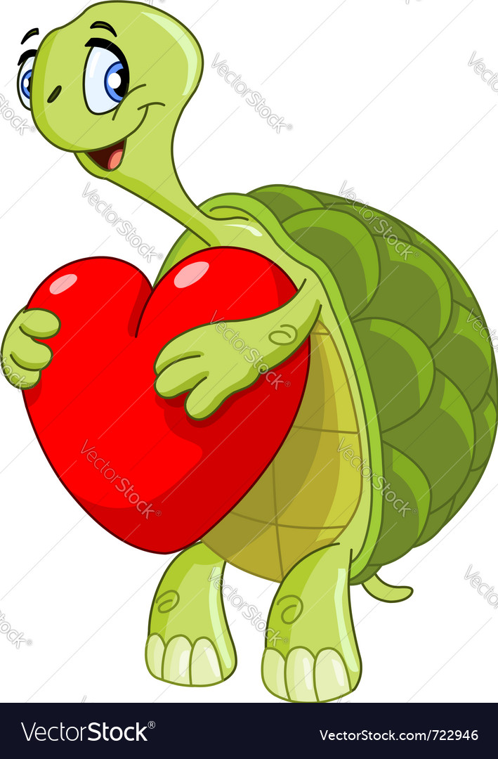 Turtle with heart vector | Price: 3 Credit (USD $3)