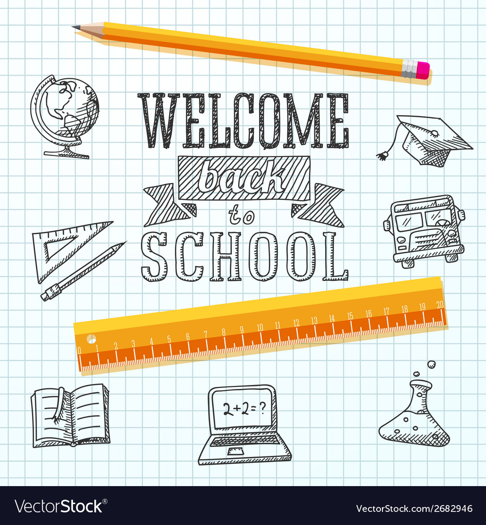 Welcome back to school message on paper with vector | Price: 1 Credit (USD $1)