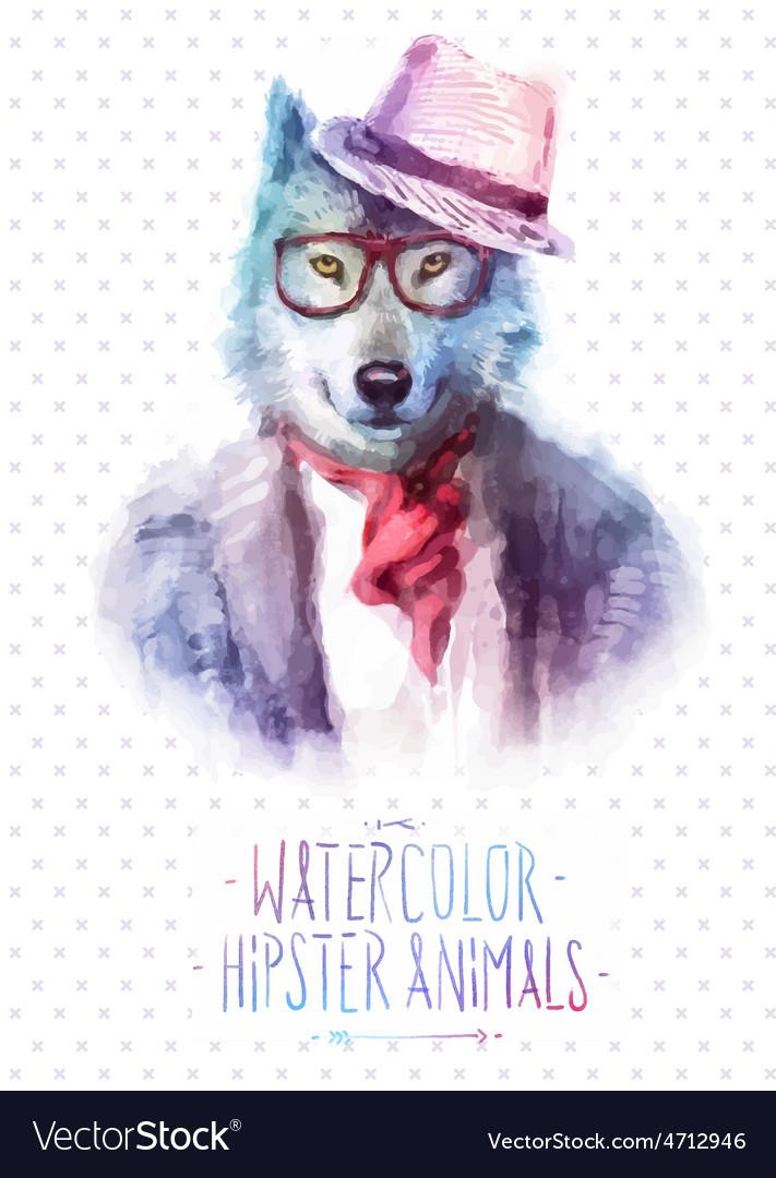 Wolf portrait in sunglasses vector   Price: 3 Credit (USD $3)