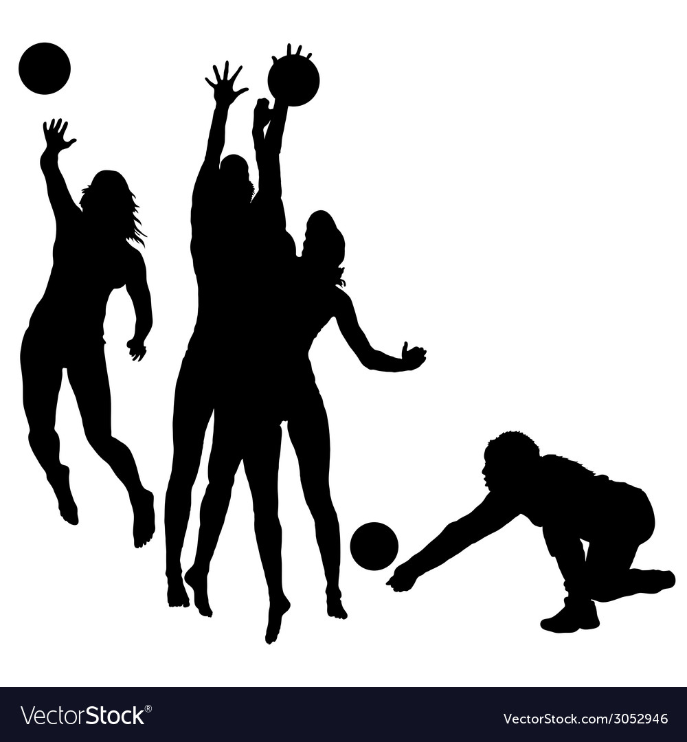 Woman play volleyball silhouette vector | Price: 1 Credit (USD $1)